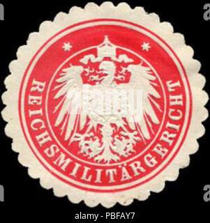 Alte Briefverschlussmarke aus Papier, welche seit ca. 1850 von Behoerden, Anwaelten, Notaren und Firmen zum verschliessen der Post verwendet wurde. 1501 Siegelmarke Reichsmilitärgericht W0215005 - Stock Photo