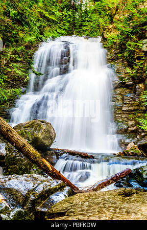 Whitecroft Falls, a waterfall on McGillivray Creek and a short hike from Sun Peaks Road near the town of Whitecroft in the Schuswaps in BC Canada - Stock Photo