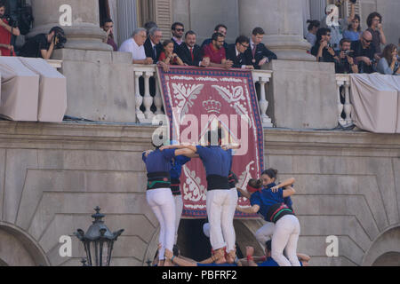 Barcelona, Catalonia, September 24, 2017: Castellers in Barcelona during the celebration of La Merce in front the city hall - Stock Photo