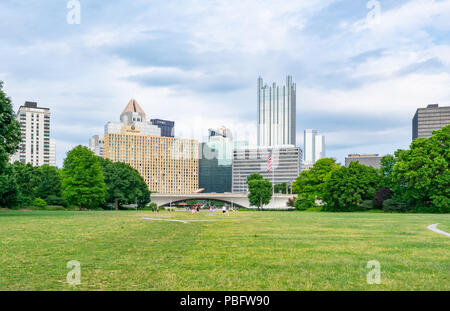 PITTSBURGH, PA - JUNE 16, 2018: Pittsburgh, Pennsylvania skyline  from Fort Pitt at Point State Park. - Stock Photo