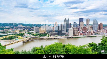 PITTSBURGH, PA - JUNE 16, 2018: Pittsburgh, Pennsylvania skyline  overlooking the Allegheny Monongahela rivers from the Grandview Overlook - Stock Photo