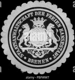 1513 Siegelmarke Staatsanwaltschaft der Freien Hansestadt - Bremen W0221364 - Stock Photo