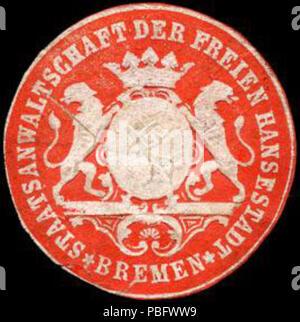 1513 Siegelmarke Staatsanwaltschaft der Freien Hansestadt - Bremen W0226699 - Stock Photo