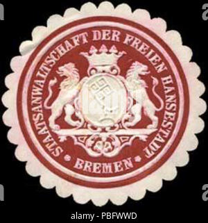 1513 Siegelmarke Staatsanwaltschaft der Freien Hansestadt Bremen W0238483 - Stock Photo