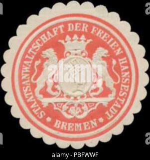 1513 Siegelmarke Staatsanwaltschaft der Freien Hansestadt Bremen W0348837 - Stock Photo
