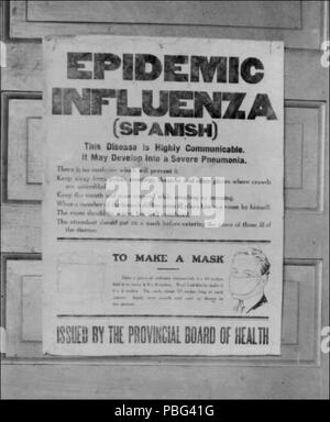 . English: A period photo of a poster issued by Alberta's provincial board of health alerting the public to the influenza epidemic. The poster gives information on the Spanish flu, and instructions on how to make a mask. circa 1918 1557 SpanishFluPosterAlberta - Stock Photo