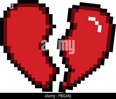 Broken Pixel Art Heart For Game Stock Vector Art