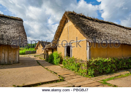In its heyday, the Viking market town of Haithabu had about 1000 such thatch-roofed houses surrounded by the Danevirke, a semicircular defensive rampa - Stock Photo