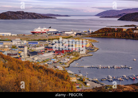 View of norwegian fjords and cruise liner in autumn - Stock Photo