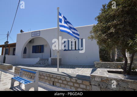 Building With Its Typical Blue Doors And Windows In Ano Mera On The Island Of Mykonos. Architecture Landscapes Travels Cruises. July 3, 2018. Ano Mera - Stock Photo