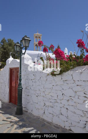 Courtyard, Bell Tower & Door Of Panagia Tourliani Monastery In Ano Mera On The Island Of Mykonos. Architecture Landscapes Travels Cruises. July 3, 201 - Stock Photo