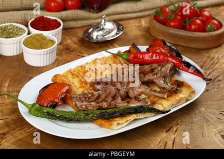 Grilled lamb meat chops - Stock Photo