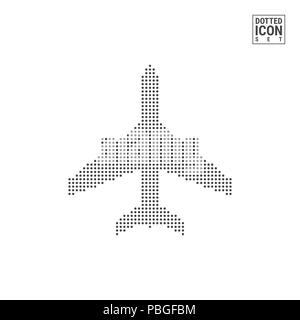 Airplane Dot Pattern Icon. Airplane Dotted Icon Isolated on White Background. Illustration of Airplane. Background for Banner, Certificate, Poster Des - Stock Photo