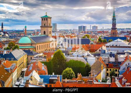 Copenhagen, Denmark old city skyline. - Stock Photo
