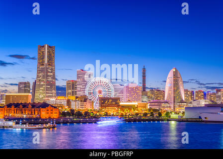 Yokohama, Japan city skyline from the bay at twilight. - Stock Photo