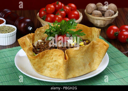 Taco Beef Meat in Tortilla Bread - Stock Photo