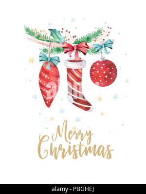 Merry Christmas and Happy New Year 2019 decoration winter set. Watercolor holiday background. Xmas element. - Stock Photo