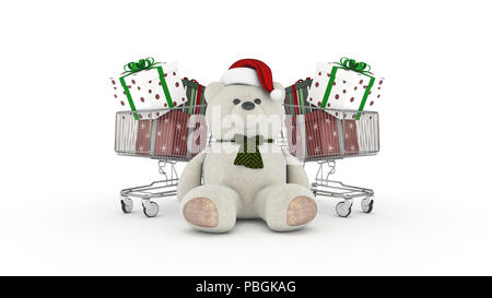 Teddy bear with santa hat and shopping cart. 3d rendering - Stock Photo
