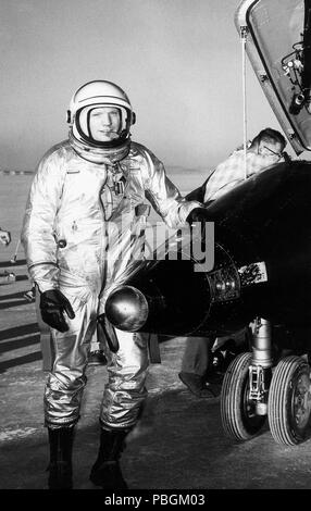 NASA test pilot Neil Armstrong is seen here next to the X-15 ship #1  after a research flight. - Stock Photo