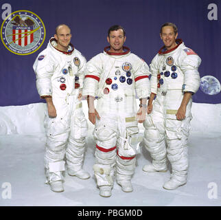 The prime crew of the Apollo 16 lunar landing mission. From left to right: Thomas K. Mattingly II, Command Module pilot; John W. Young, Commander; and Charles M. Duke Jr., Lunar Module pilot. - Stock Photo