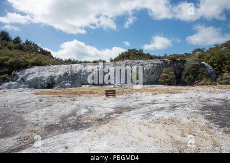 Sinter formation at the geothermal area Orakei Korako in Rotorua, New Zealand - Stock Photo