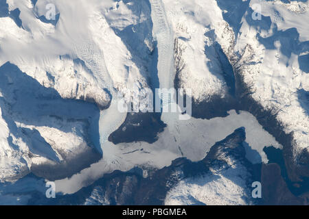 NASA satellite image of Torres del Paine glaciers, Chile, South America - Stock Photo