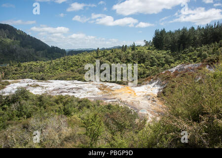 Elevated view over the scenic landscape at the geothermal area Orakei Korako in Rotorua, New Zealand - Stock Photo