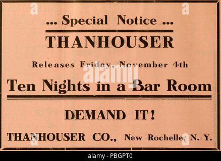 1604 Ten Nights in a Bar Room 1910 ad - Stock Photo