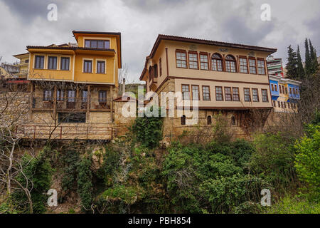 Architectural buildings and traditional old houses at Barbouta, Veria. Barbouta is the name of the Jewish quarter in Veria, a small town in Macedonia, - Stock Photo