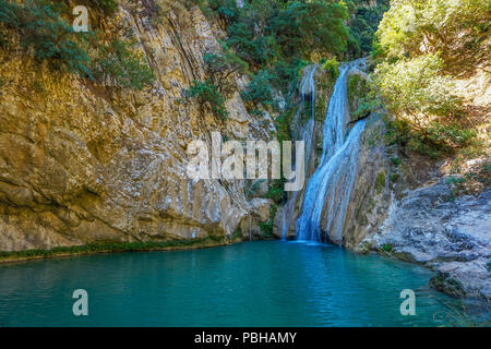In the community of Haravgi of the Municipality of Messina, lies Polylimnio, a complex of many natural lakes. - Stock Photo