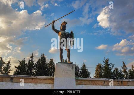 Leonidas statue at the Memorial to the 300 spartans, Thermopylae, Pthiotis, Greece. - Stock Photo