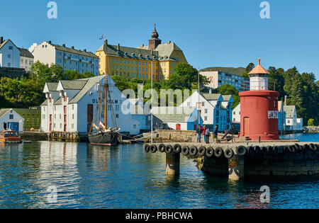 lighthouse at entrance of old harbor, Ålesund, Norway, Europe - Stock Photo