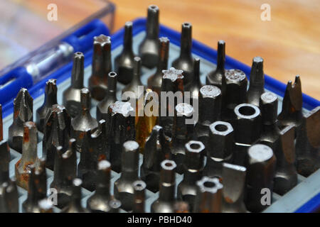 screwdriver tool heads, multiple screw head tool set - Stock Photo