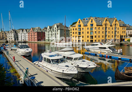 view of old harbor with historical Art Nouveau buildings, Ålesund, Norway, Europe - Stock Photo