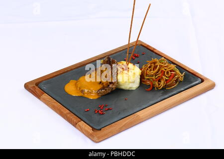 Beef Steak Fillet with Sauce - Stock Photo