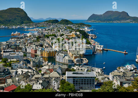 View from Aksla hill over Alesund and surrounding waters, Byrampen Viewpoint, More og Romsdal, Norway, Scandinavia, Europe - Stock Photo