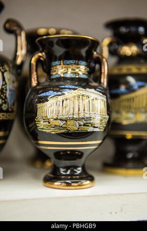 KALAMBAKA, GREECE - MAR 20, 2015: Greek vase with Parthenon. Greek vases are the popular souvenir in Greece - Stock Photo