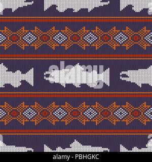 Knitted seamless pattern with Norwegian salmon - Stock Photo