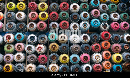 Spray Cans Stacked On A Wall, Istanbul, Turkey - Stock Photo