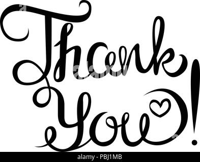 Thank you hand-drawn phrase. Lettering. vector isolated image on white background. - Stock Photo