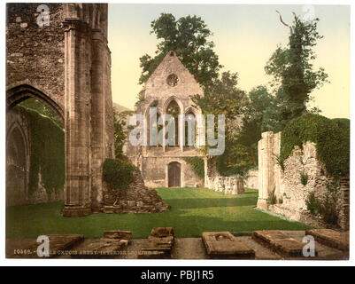 1799 Valle Crucis Abbey, interior looking west, Llangollen, Wales-LCCN2001703520 - Stock Photo