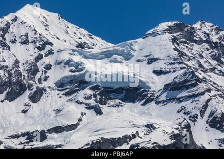 Panorama view of the Alps on a hiking path near Kandersteg switzerland - Stock Photo