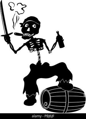 Jolly Roger skeleton, black silhouettes - Stock Photo