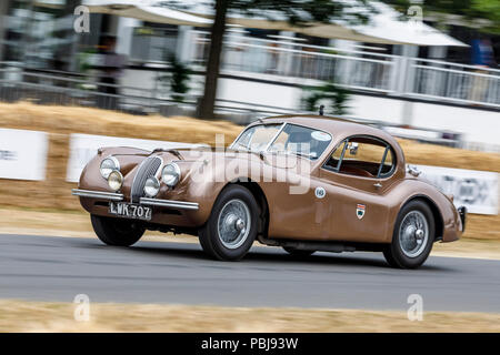 1952 Jaguar XK120 'Montlhery' Fixed-Head Cuope endurance racer at the 2018 Goodwood Festival of Speed, Sussex, UK. - Stock Photo