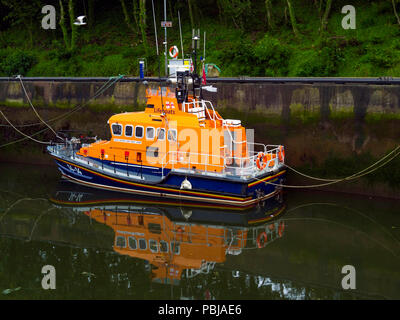 The  Trent class Lifeboat 14-14 'George and Mary Webb'  marked 'Whitby Lifeboat ' in Eyemouth Harbour Scotland - Stock Photo