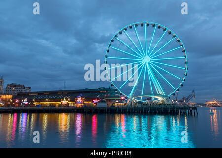 Seattle, Washington - June 30, 2018 : Seattle skyline, waterfront and great wheel - Stock Photo