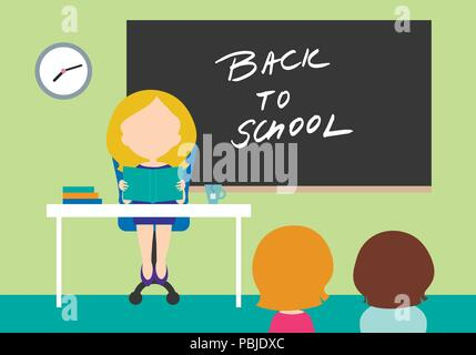 Young woman - teacher sitting on chair behind table in school class with black board with inscription Back to school and with two students - flat desi - Stock Photo