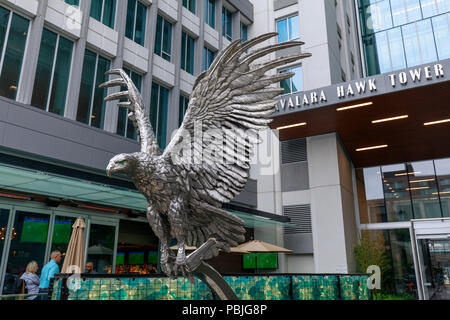 Seattle, Washington - June 30, 2018 : Entrance of Avalara Hawk Tower with Eagle statue in Seattle - Stock Photo