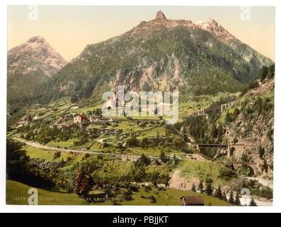 1835 Wassen, the tunnels, St. Gotthard Railway, Switzerland-LCCN2001703203 - Stock Photo