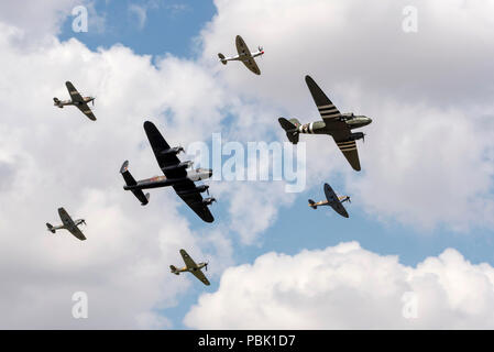 BBMF Flypast at the Royal International Air Tattoo 2018 celebrating 100 years of the RAF, - Stock Photo